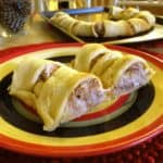 Two slices of tuna crescent ring.