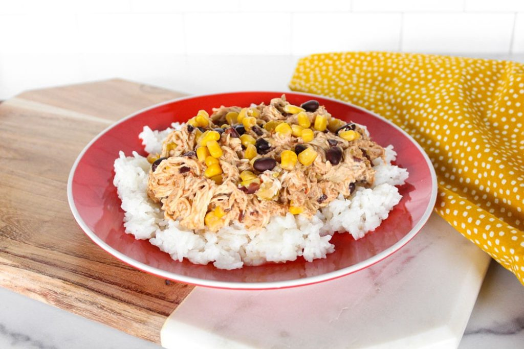Crock-Pot Tex-Mex chicken over rice
