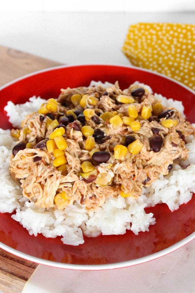 Close up of shredded chicken over rice.
