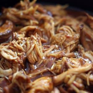 Shredded zesty Italian BBQ chicken.