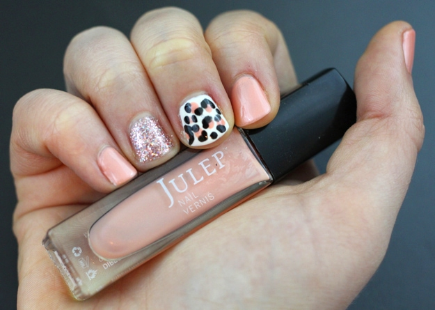 Pink Leopard and Glitter Nails