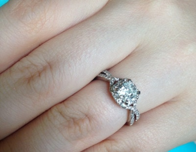 Cushion Cut Engagement Ring with a Halo Setting