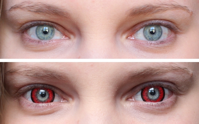 Vassen Dolly Red Circle Lenses on Blue Eyes