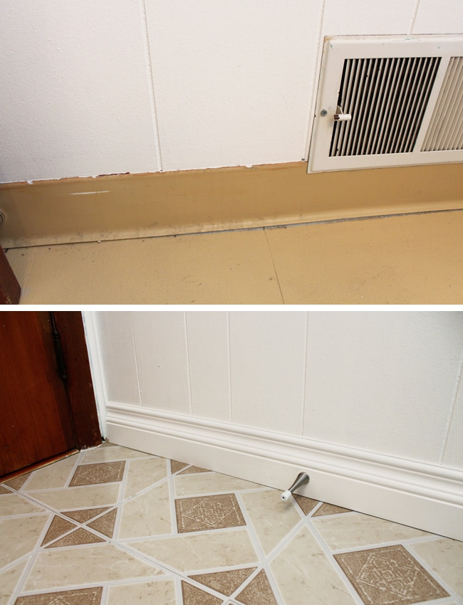 Bathroom Baseboards Before and After