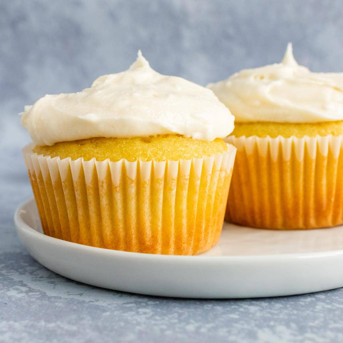 Two vanilla cupcakes topped with buttercream frosting.