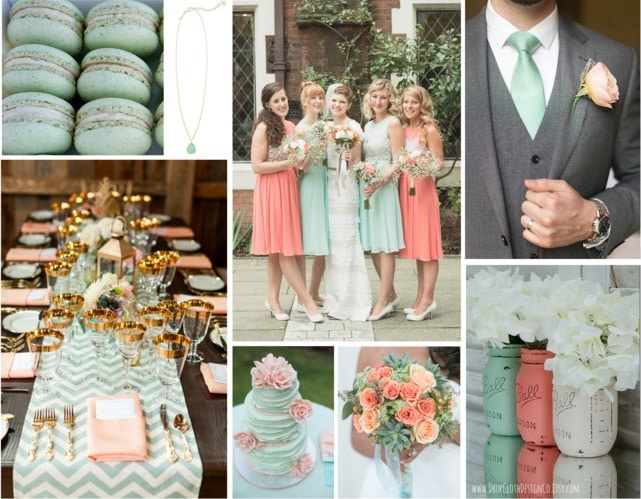 Mint Green Peach Wedding Color Scheme