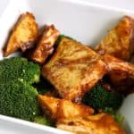 Spicy Peanut Butter Tofu over broccoli.