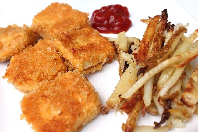 Vegan Tofu Nuggets and French Fries