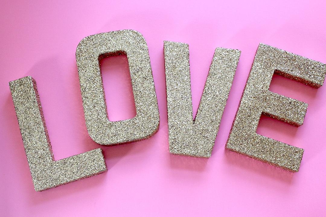 DIY Love Glitter Letters