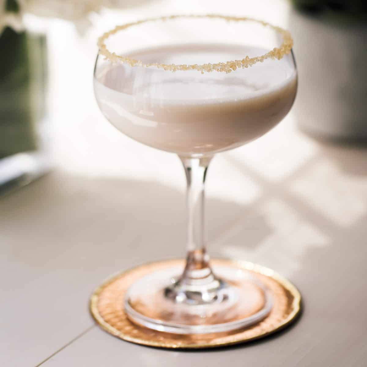 Baileys Sweet Harbor Mist Cocktail in a coupe glass.