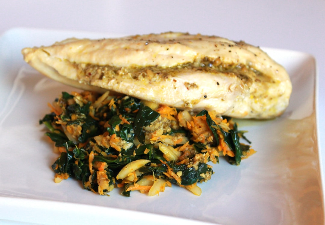 Pesto Stuffed Chicken with Spinach and Carrots
