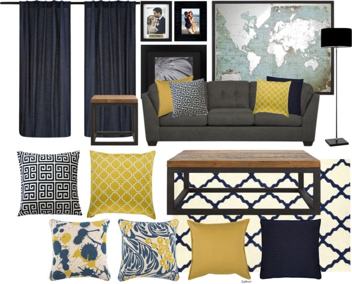 Living Room Color Scheme: Navy and Yellow