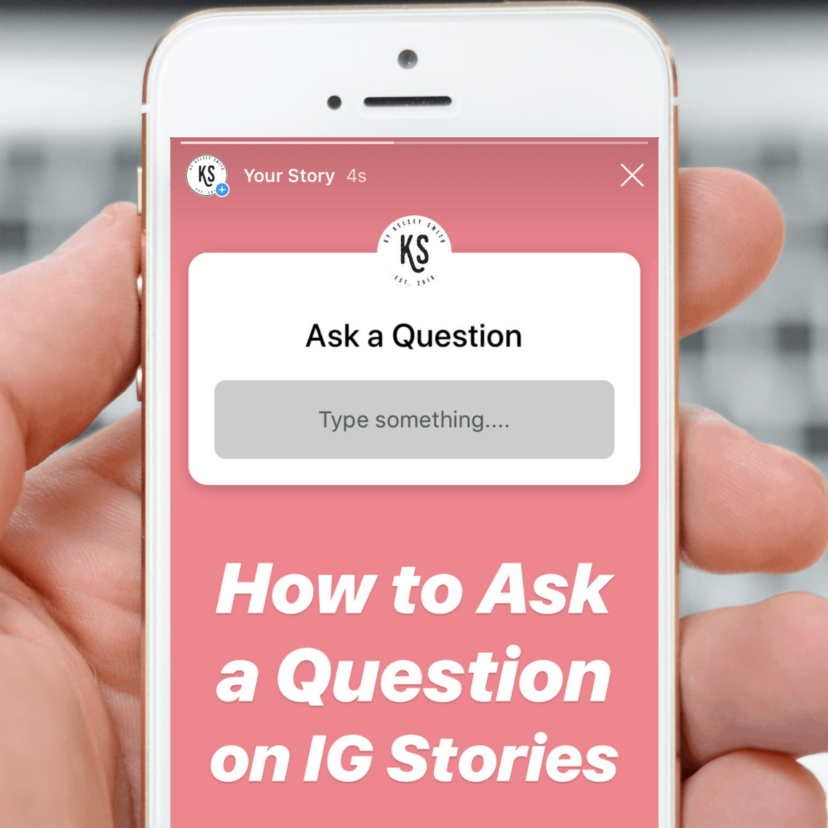 A cell phone on the Instagram app displaying the question feature in Instagram Stories.