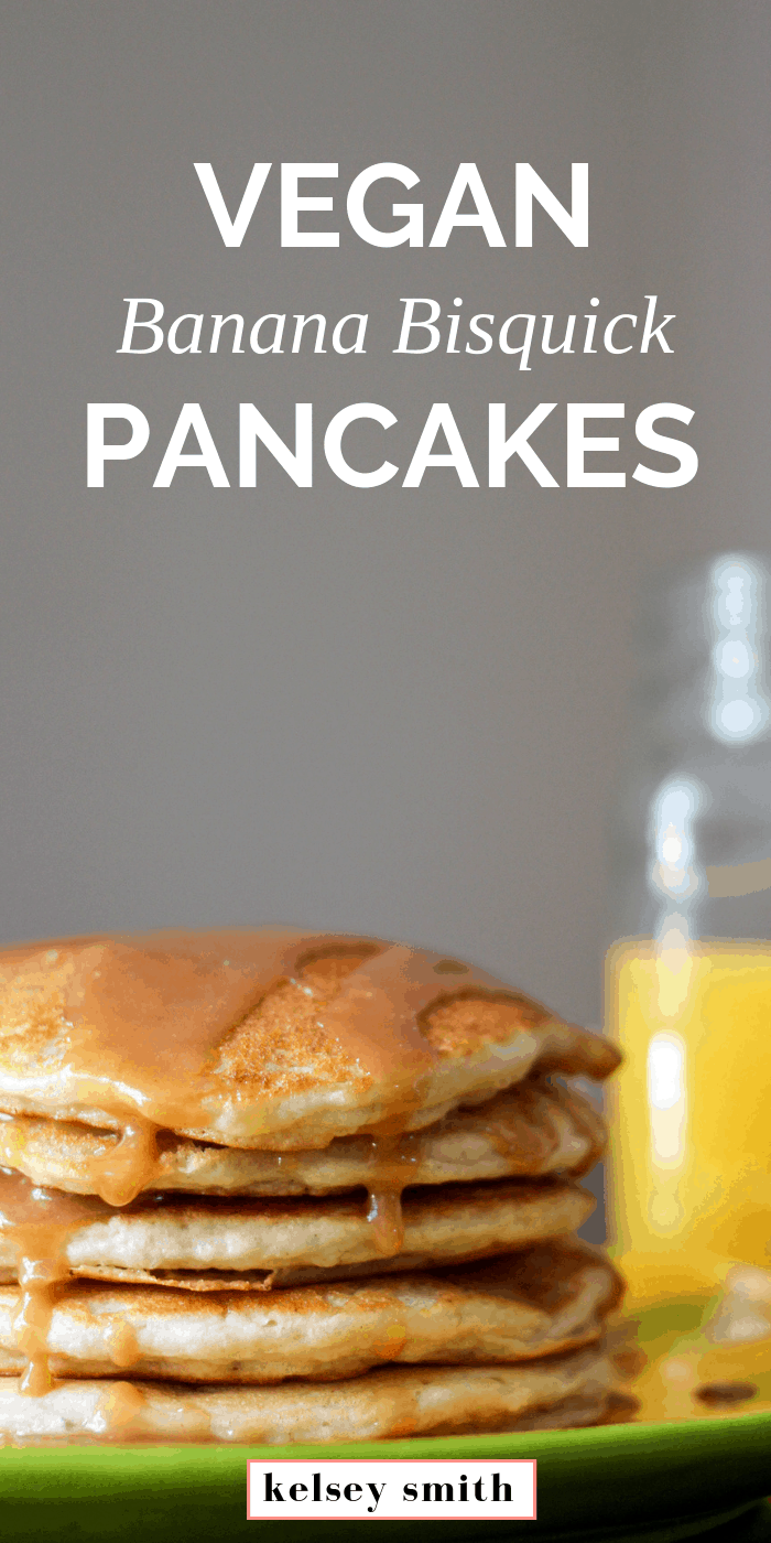 Vegan Banana Bisquick Pancakes with Peanut Butter Syrup
