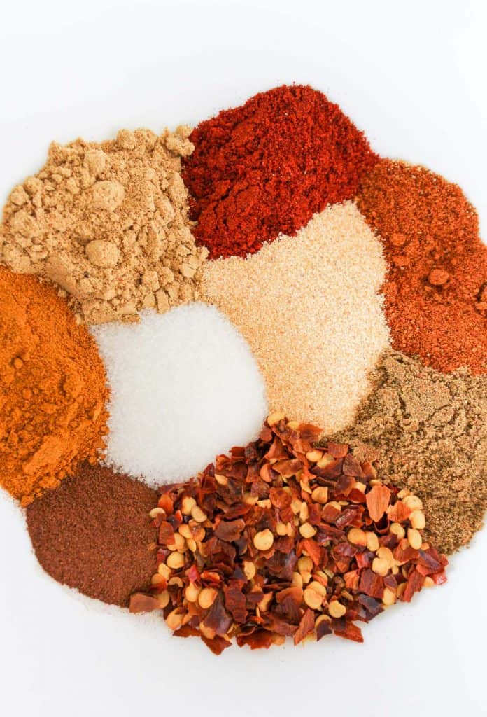Piles of colorful Indian spices.