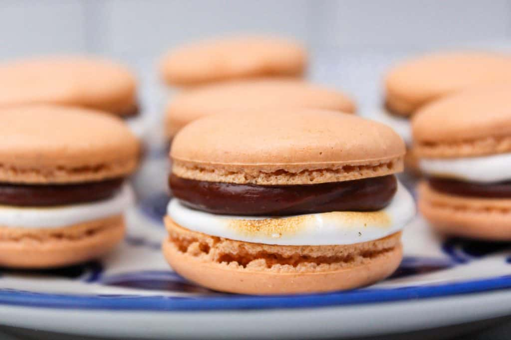 S'mores French Macarons on a plate.