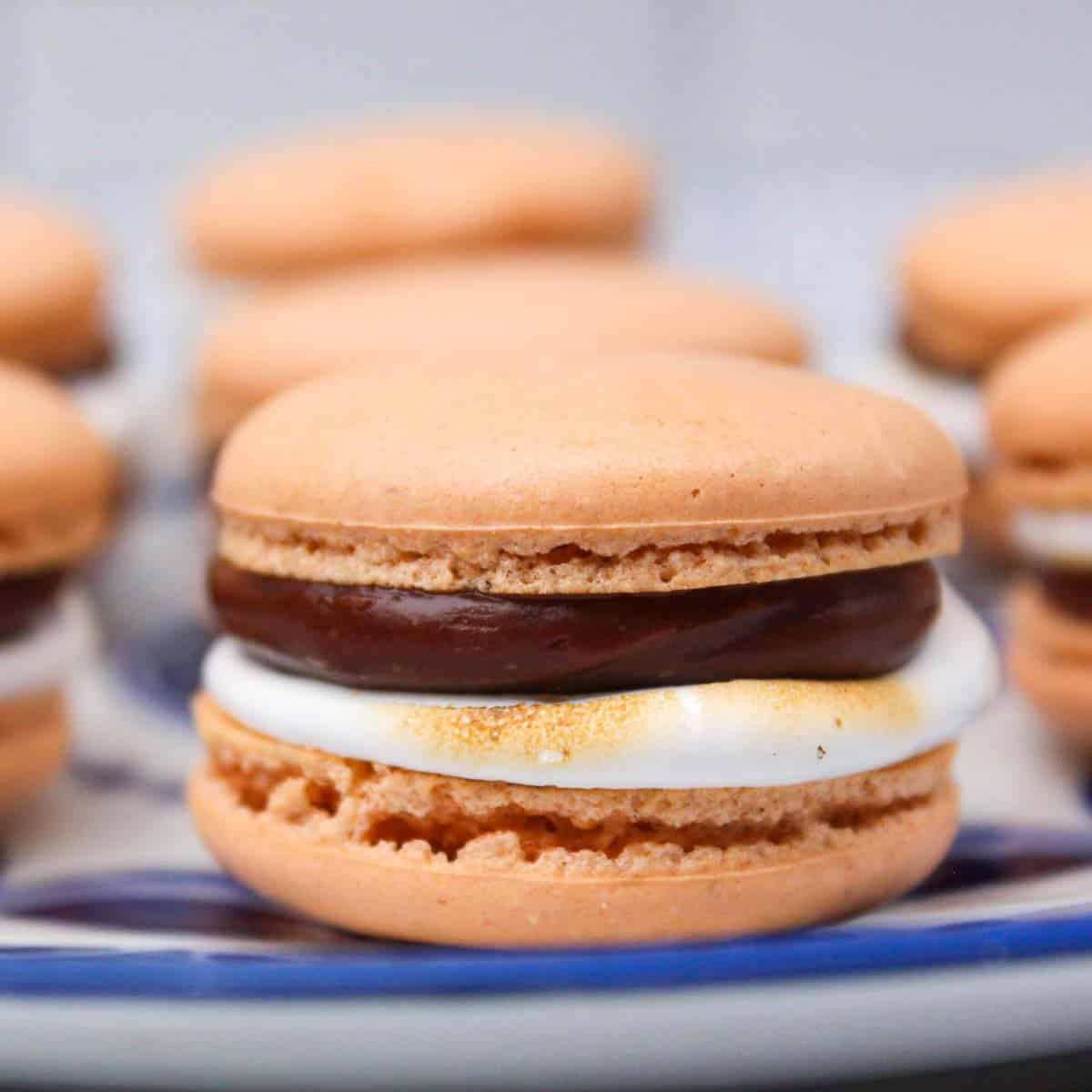 S'mores macaron with chocolate and marshmallow filling.