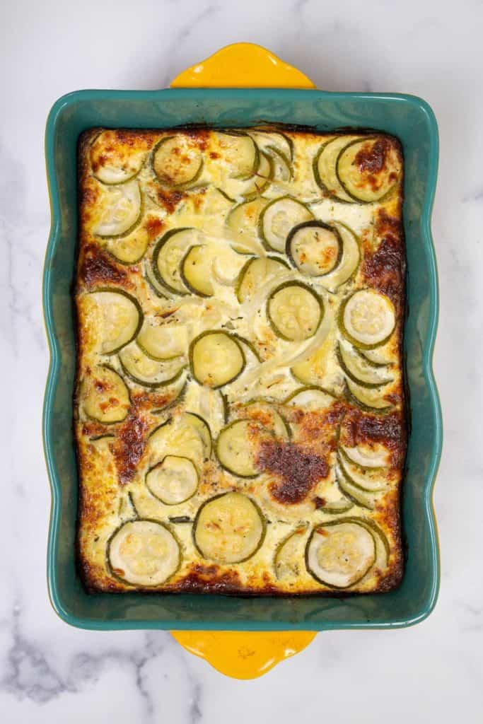 Lightly browned cheesy zucchini casserole