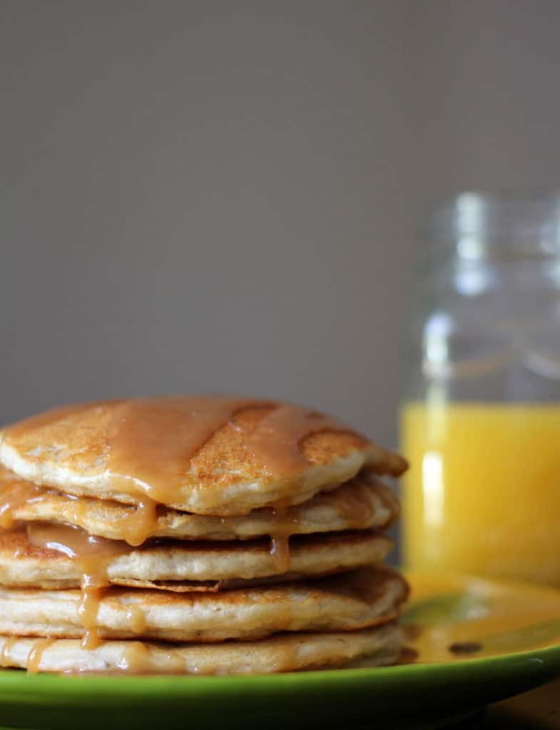 Bisquick Banana Pancakes with Peanut Butter Syrup.