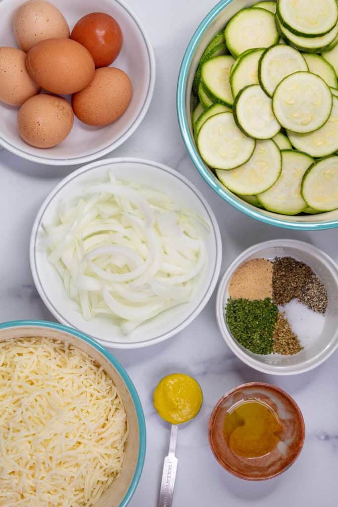 Cheesy Zucchini Casserole Ingredients.