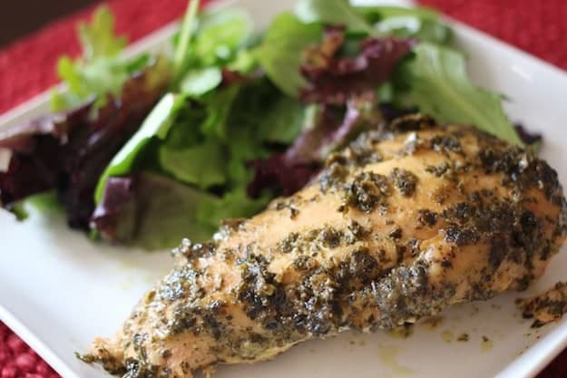 Pesto Ranch Chicken with a side salad.