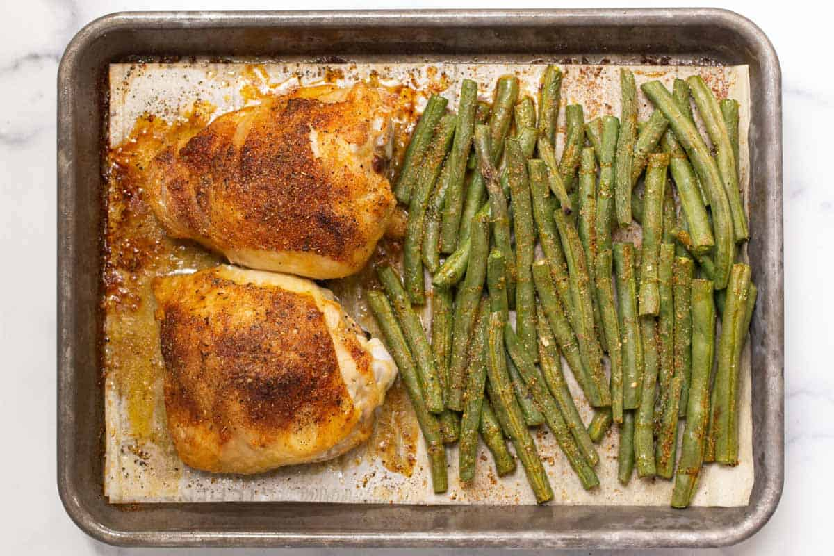 Baked chicken thighs and green beans.