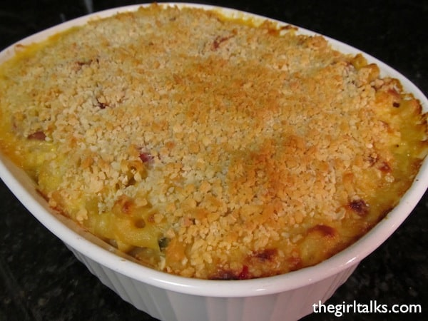 Baked Macaroni and Cheese with Jalapeño and Sausage in a 3-quart casserole dish.