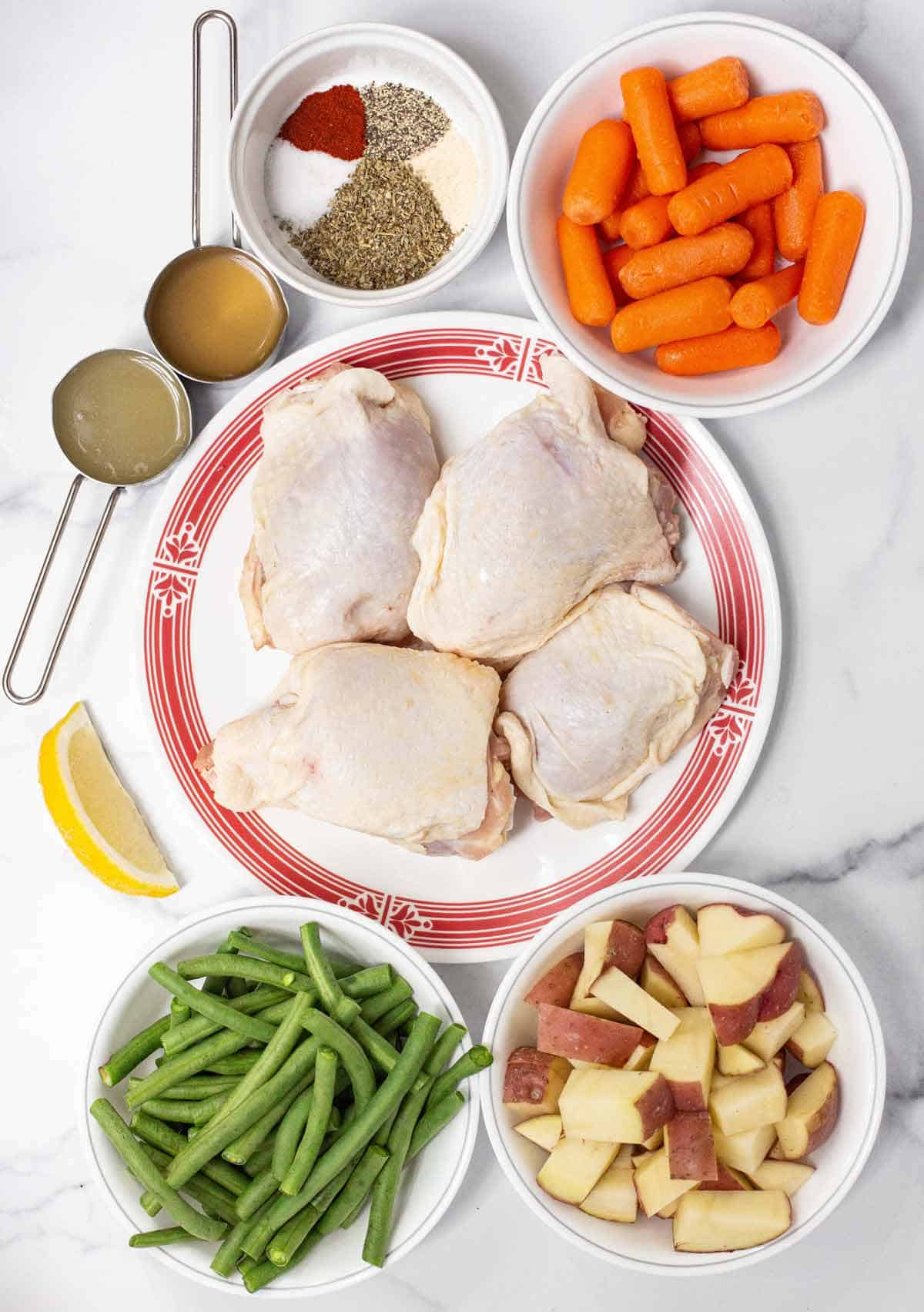 Slow Cooker Chicken and Veggies Ingredients.