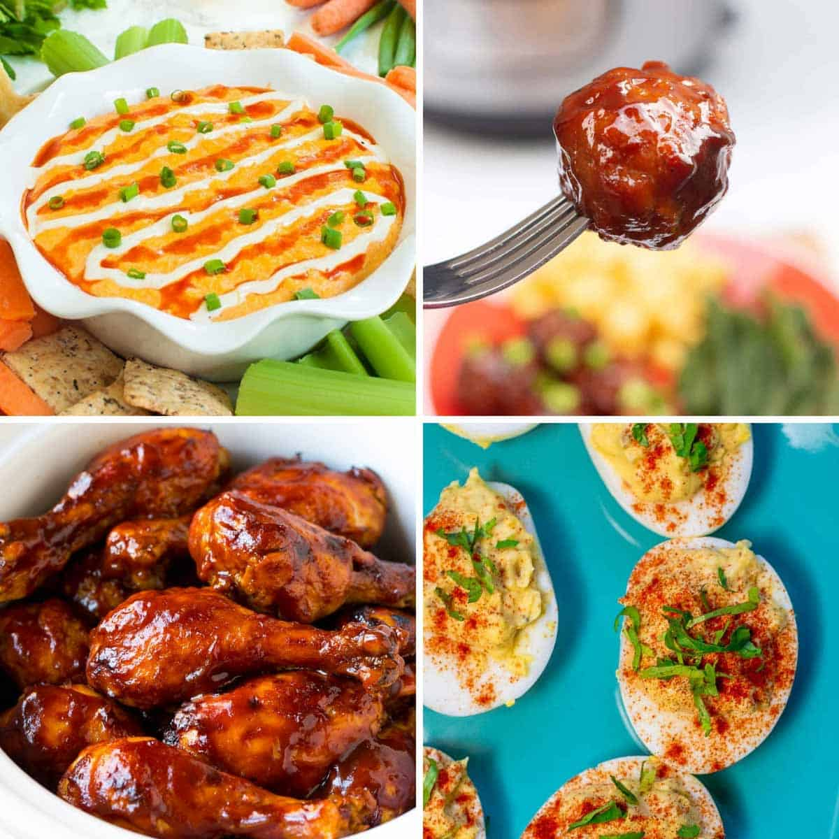 Four images in a grid, buffalo chicken dip in a bowl, bbq meatball on a fork, bbq chicken drumsticks, and hard boiled eggs.