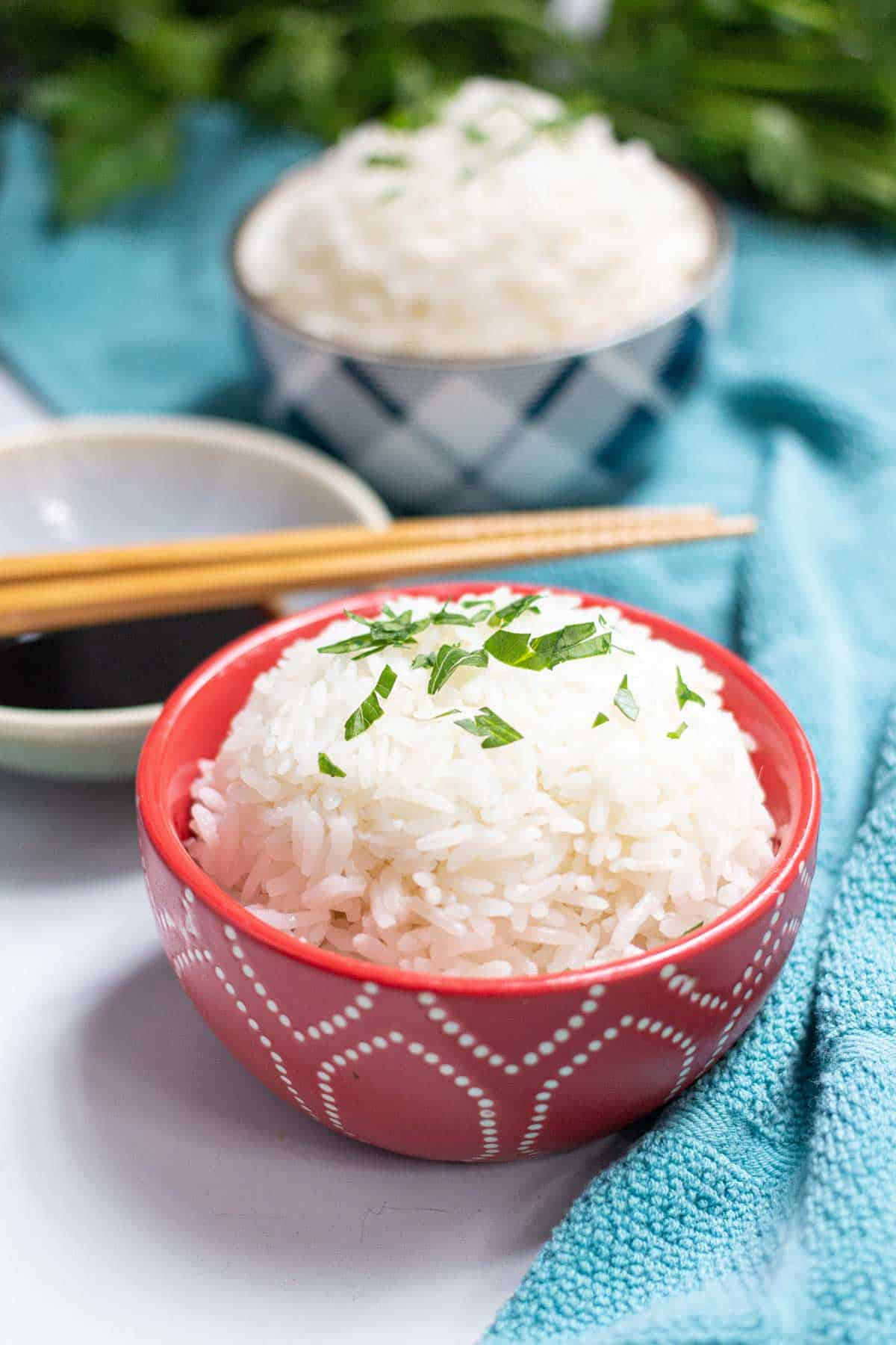 Cooked jasmine rice in a small bowl topped with fresh parsley.