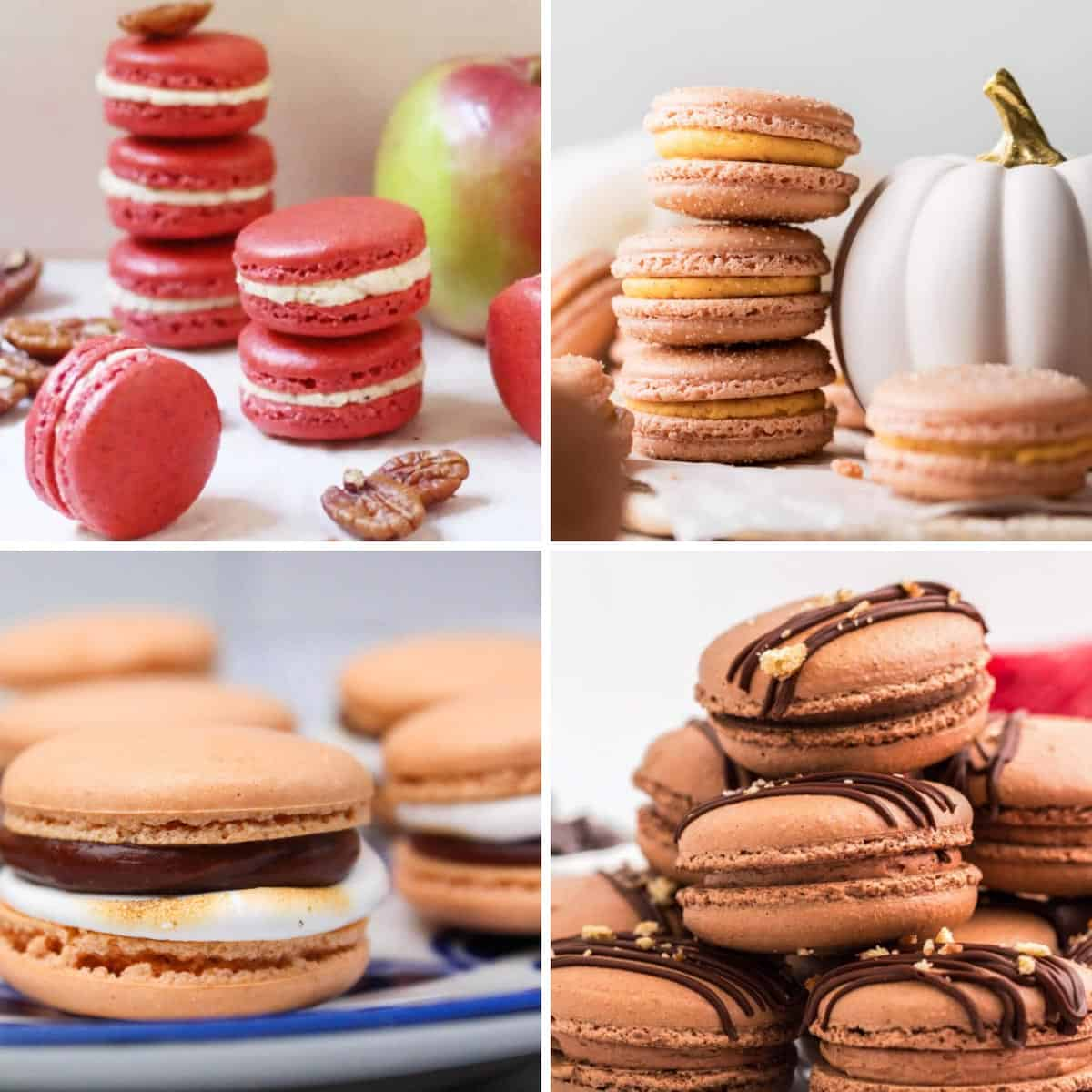 Four fall macaron images in a grid: spiced apple and pecan macarons, pumpkin churro macarons, s'mores macarons, and chocolate macarons.