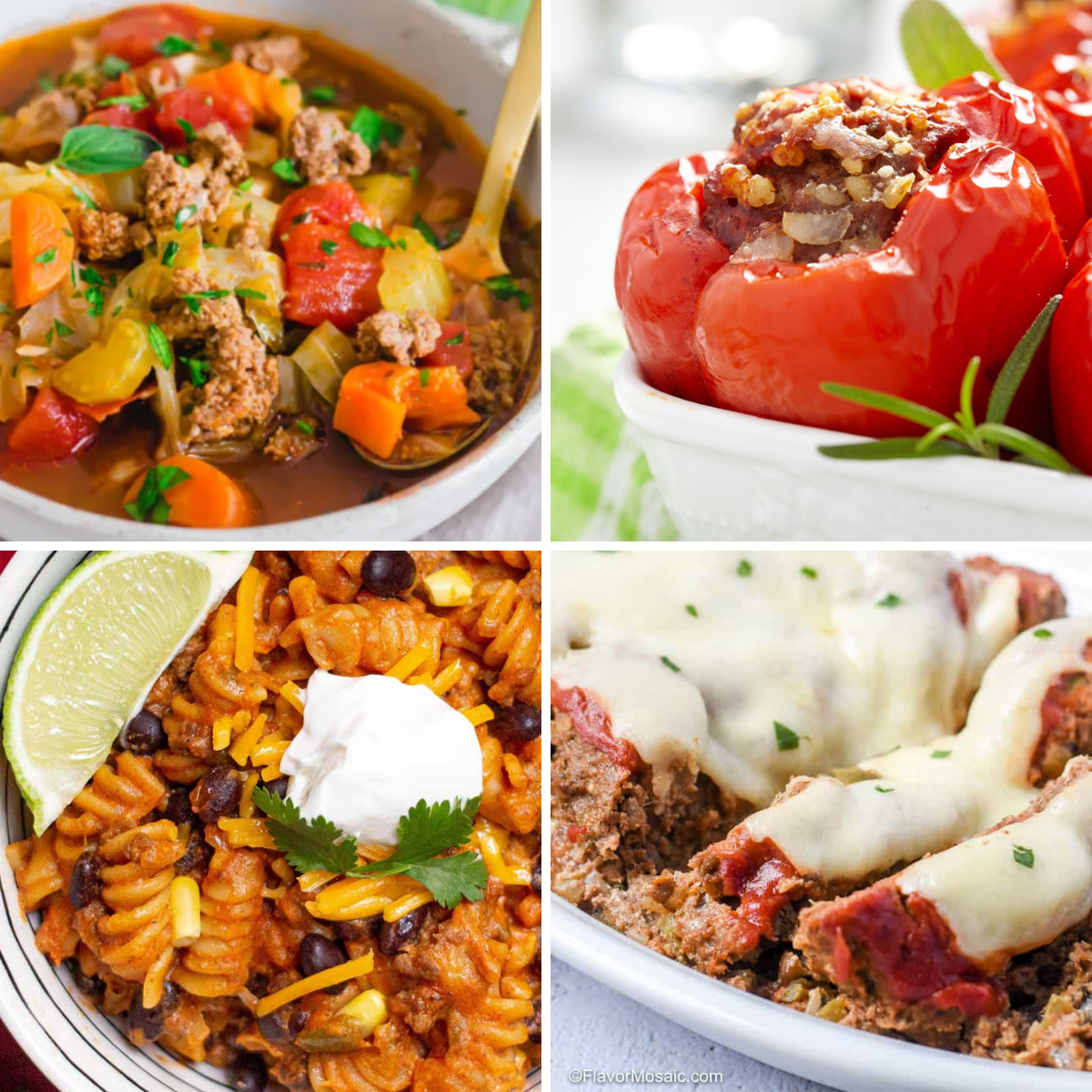 Four images in a grid: cabbage soup, stuffed peppers, taco pasta, and meatloaf.
