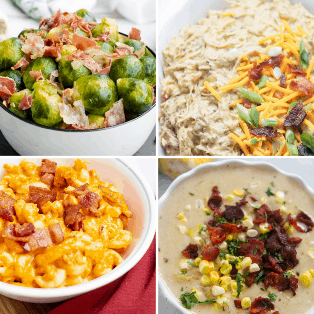 Four images in a grid: brussels sprouts with bacon bits, creamy shredded chicken with bacon bits, pumpkin mac and cheese with bacon bits, and bacon corn chowder.